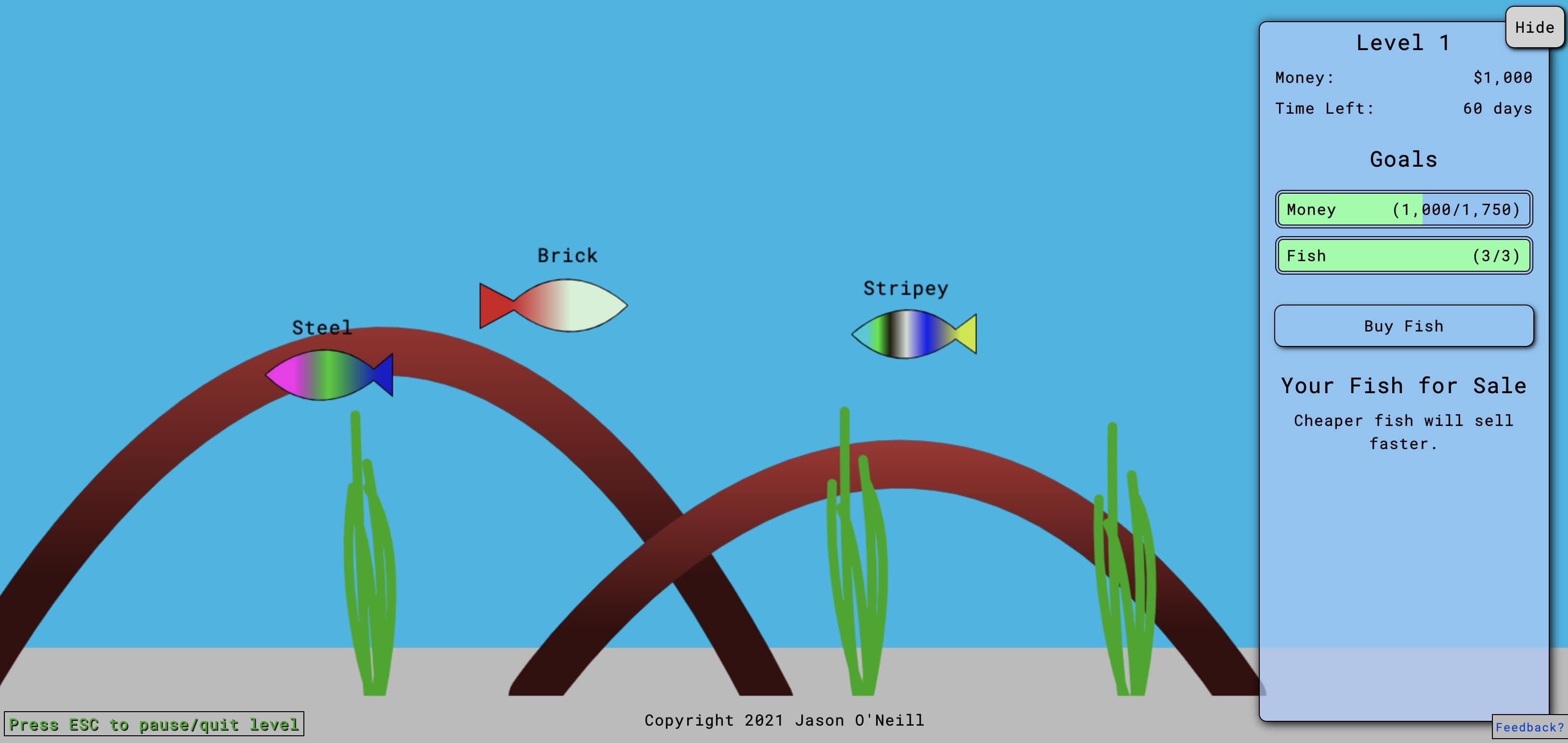 A screenshot of the Fish Feeder website.