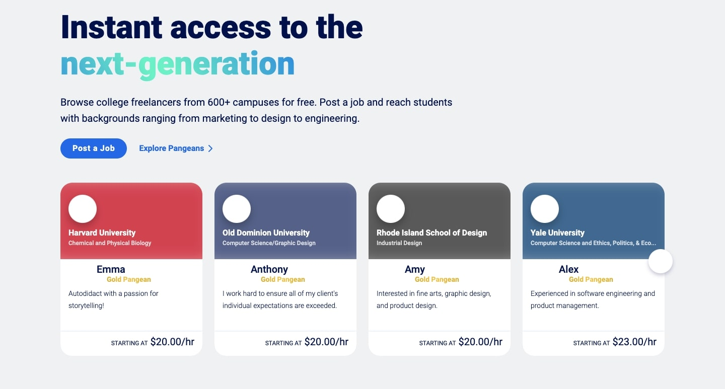 An image of examples of the types of students that companies can hire.