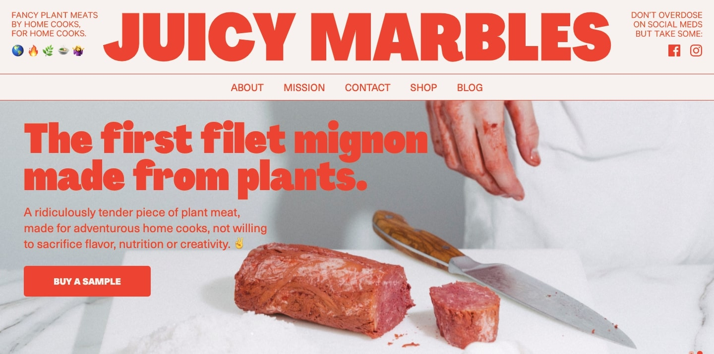 An image of the Juicy Marbles home page.