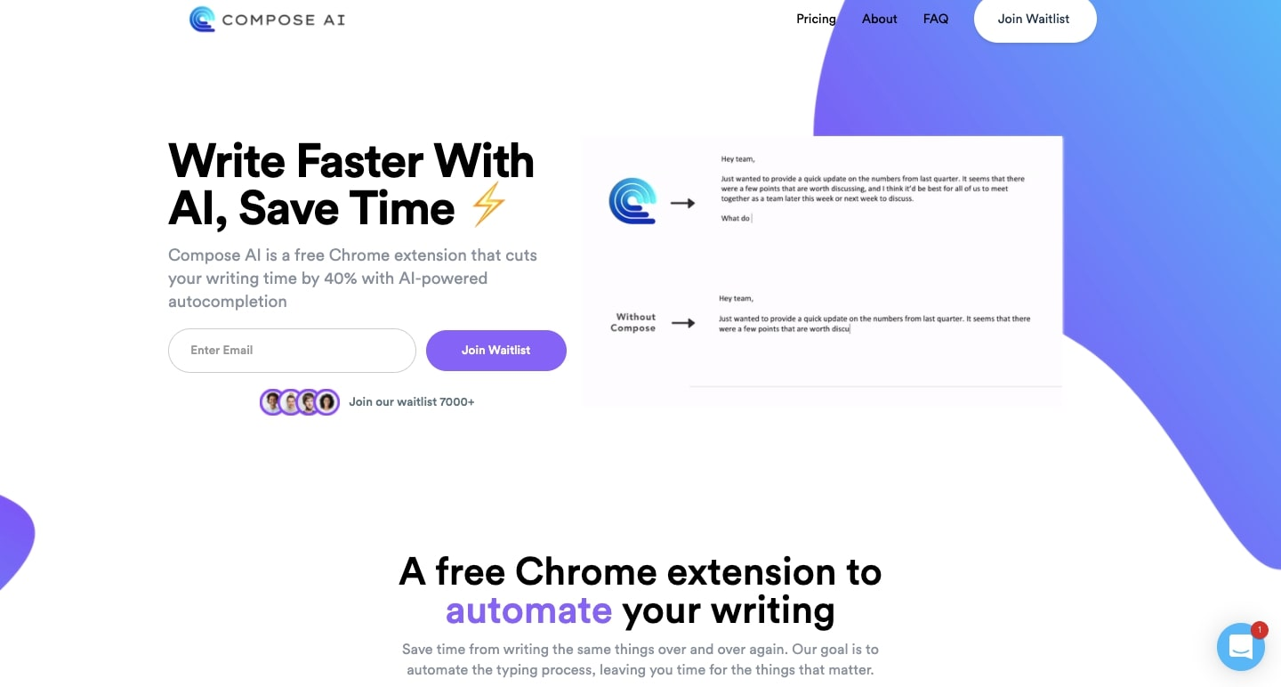 An image of Compose AI's home page.