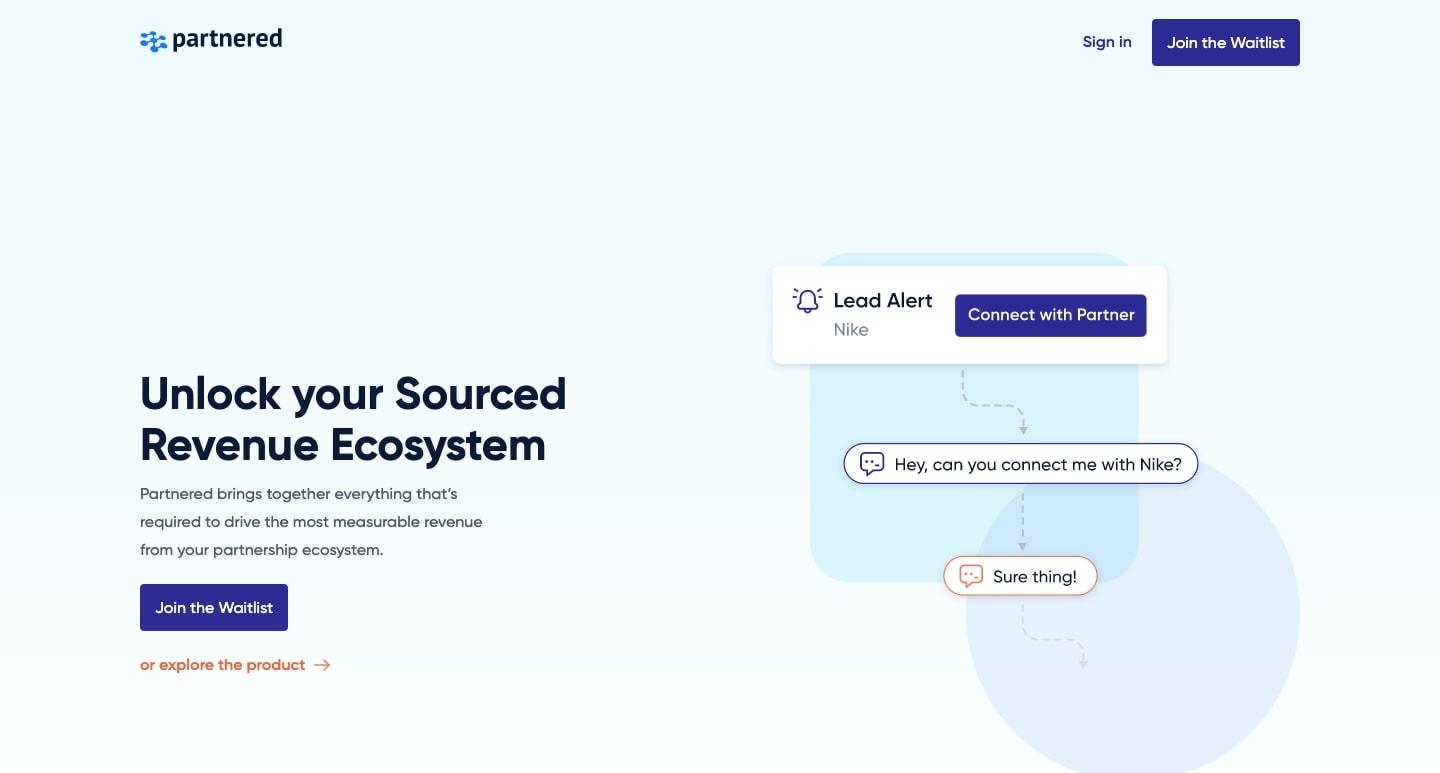 An image of the Partnered website.