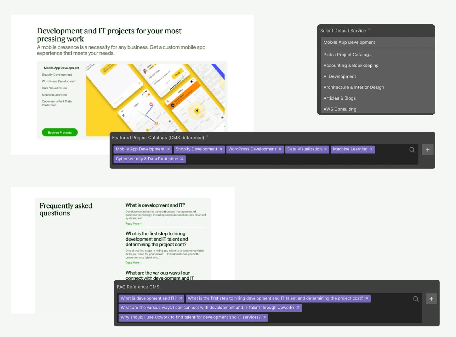 An image of the Upwork CMS.
