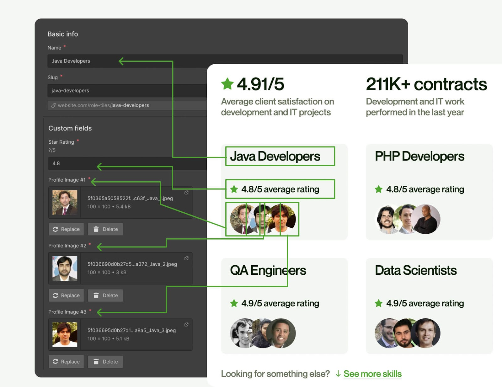 An image of the Webflow CMS template breakdown.
