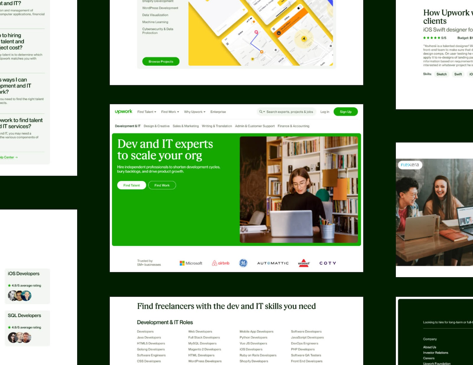Examples of the Upwork website.