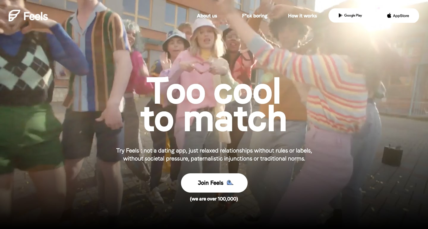 An image of the Feels home page.