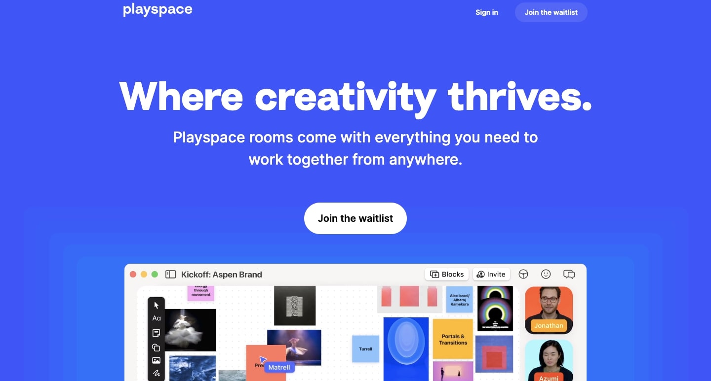 """The Playspace home page. Their main value prop """"Where creativity thrives."""" is showcased prominently."""