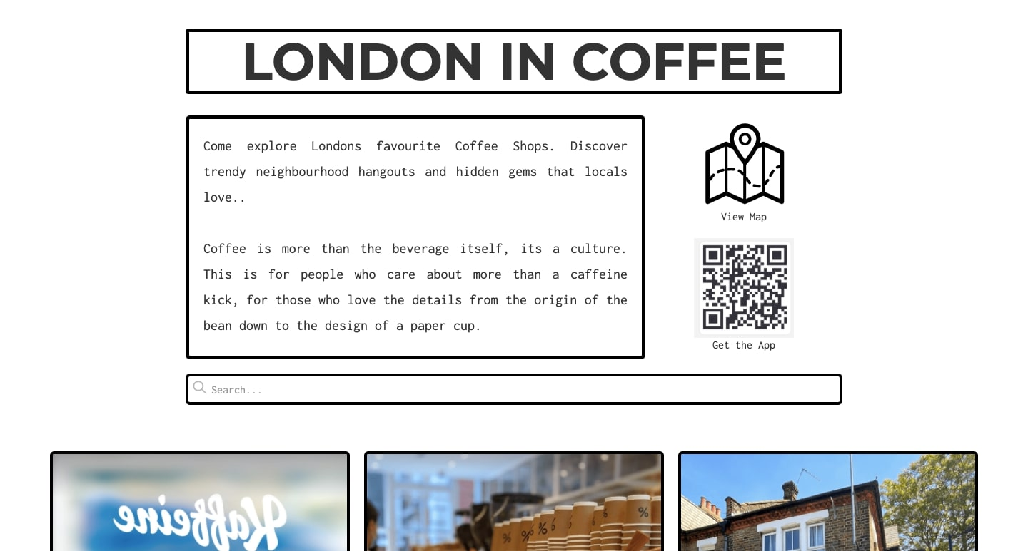 An image of the London in Coffee site.