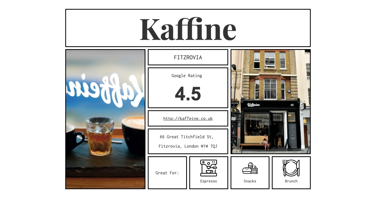An example of the individual coffee shop pages. Here we see the page for the Kaffine coffee shop.