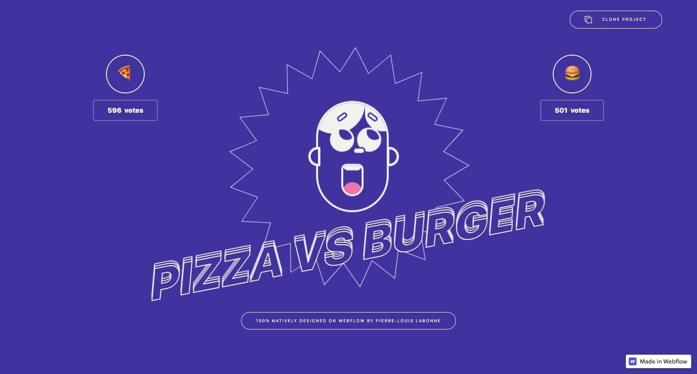 The Pizza vs Burger site.