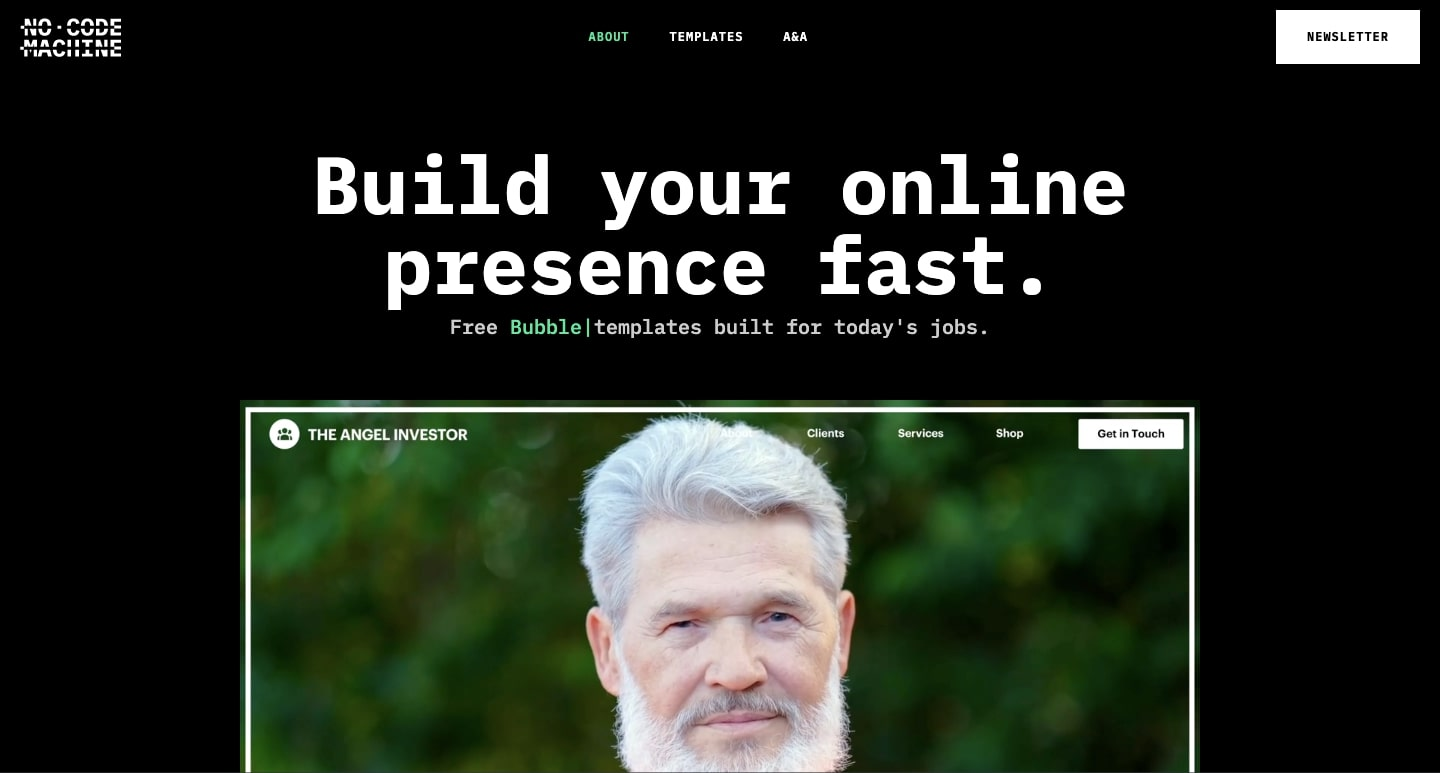 """An image of the No Code Machine home page with their tagline; """"Build your online presence fast."""""""