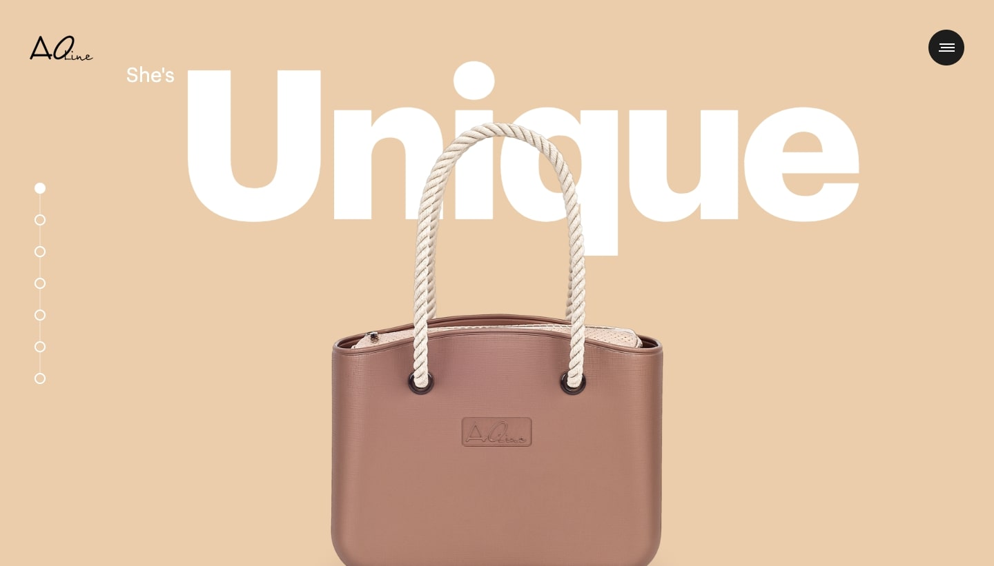"""An image of the AOline home page. It read's """"She's Unique"""" with a picture of a brown bag with a rope handle."""