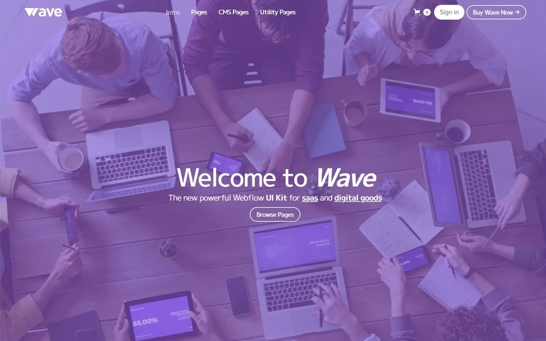 An image of the Wave template.