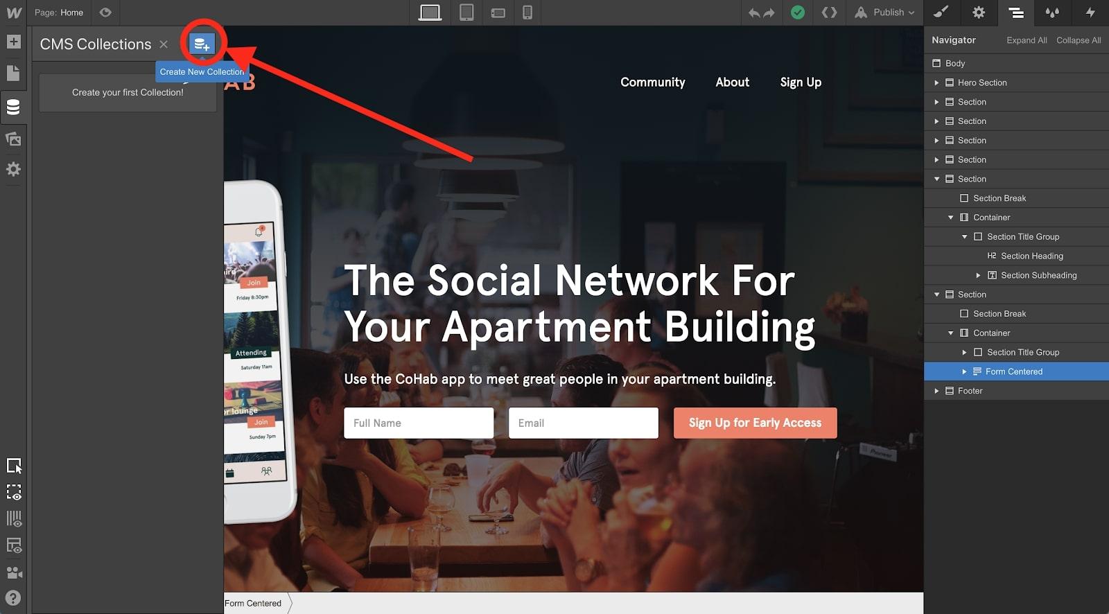 website design in webflow