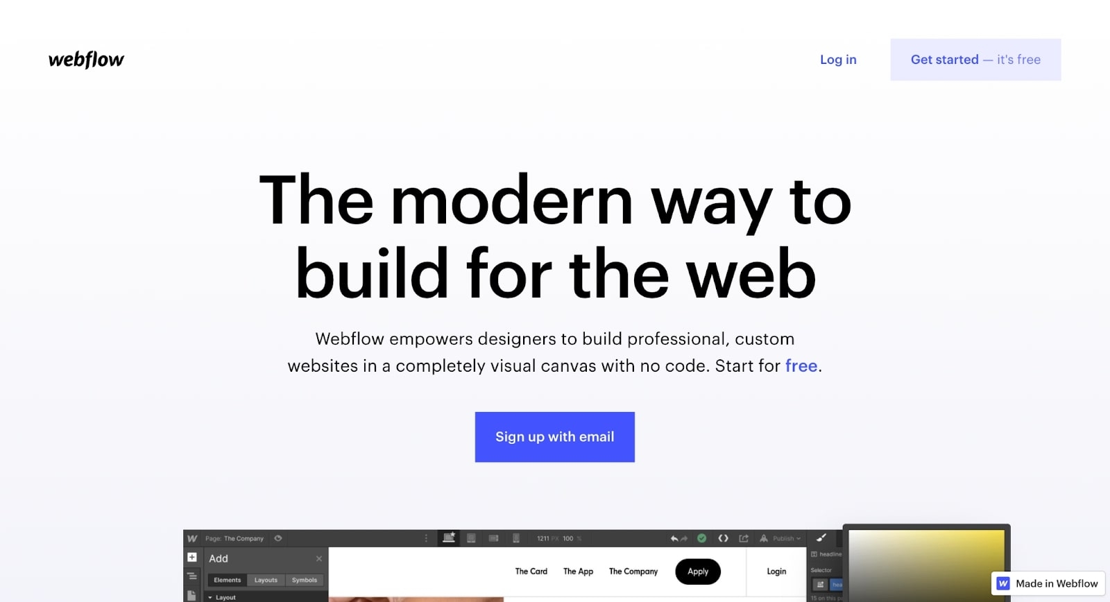 An image of the Webflow home page.