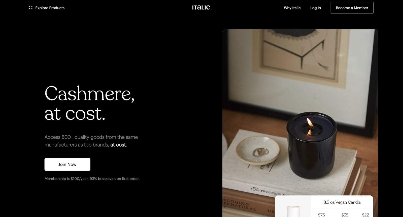 An image of Italic's home page.