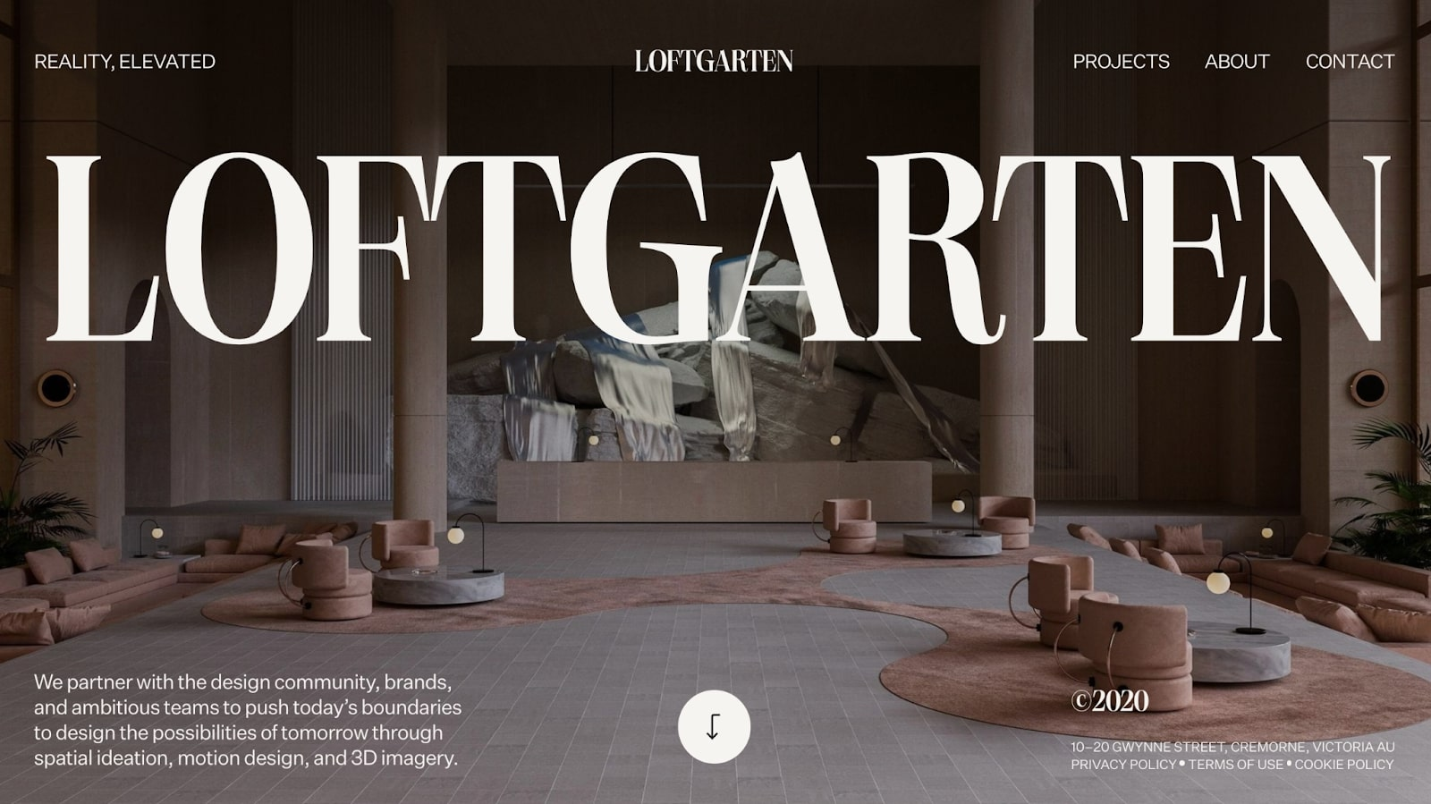 An image of Loftgarten's home page.