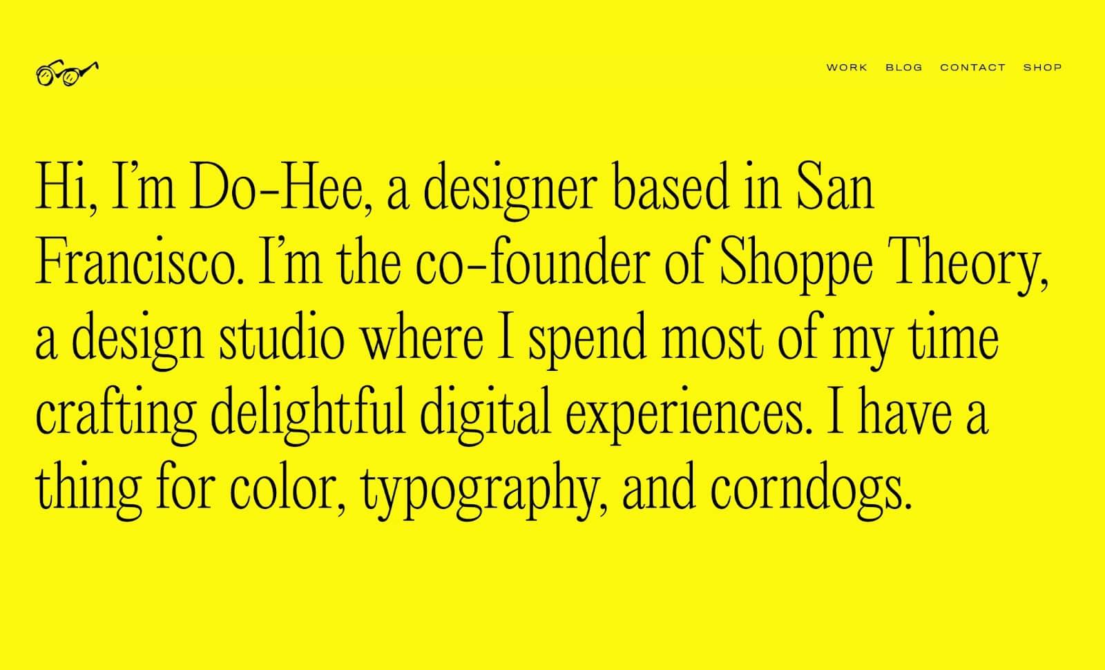 An image of Do-Hee's portfolio website.