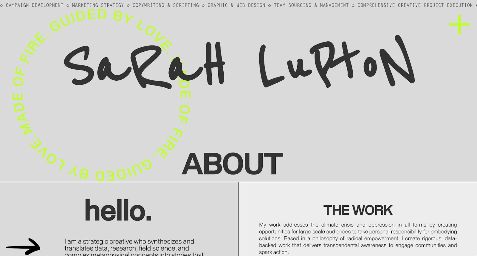 Sarah Lupton's website home page.