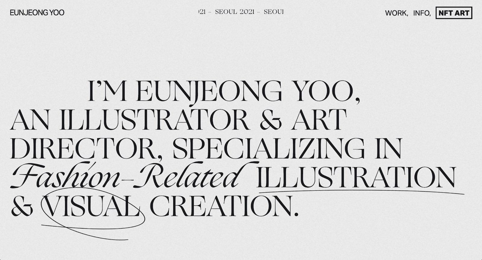 An image of Eun Jeong Yoo's home page.
