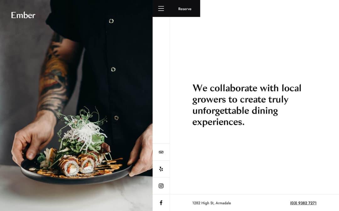 ember restaurant webflow template homepage