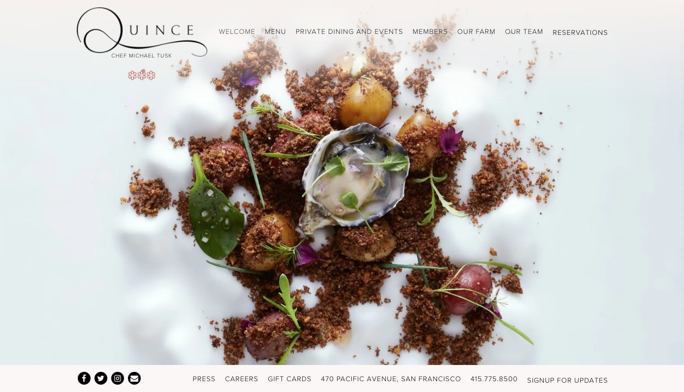 image of food served at Quince in San Francisco, CA