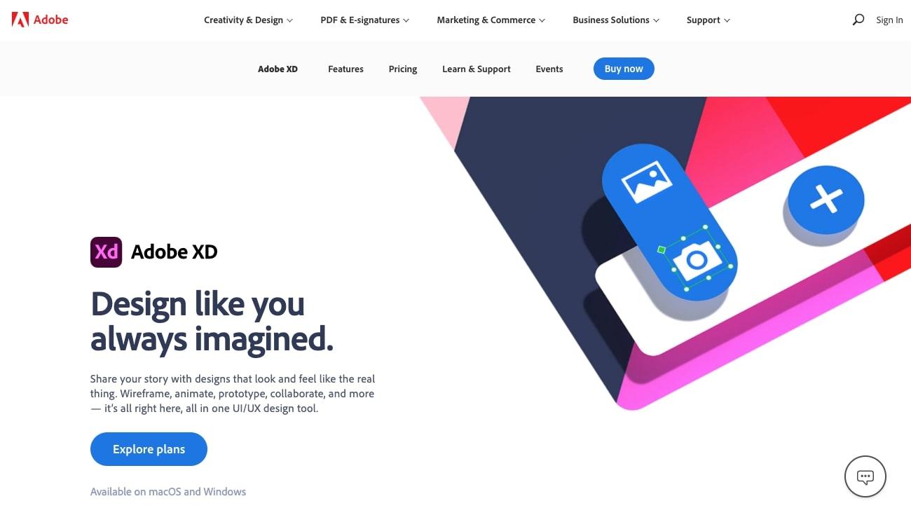 Adobe XD design tool website