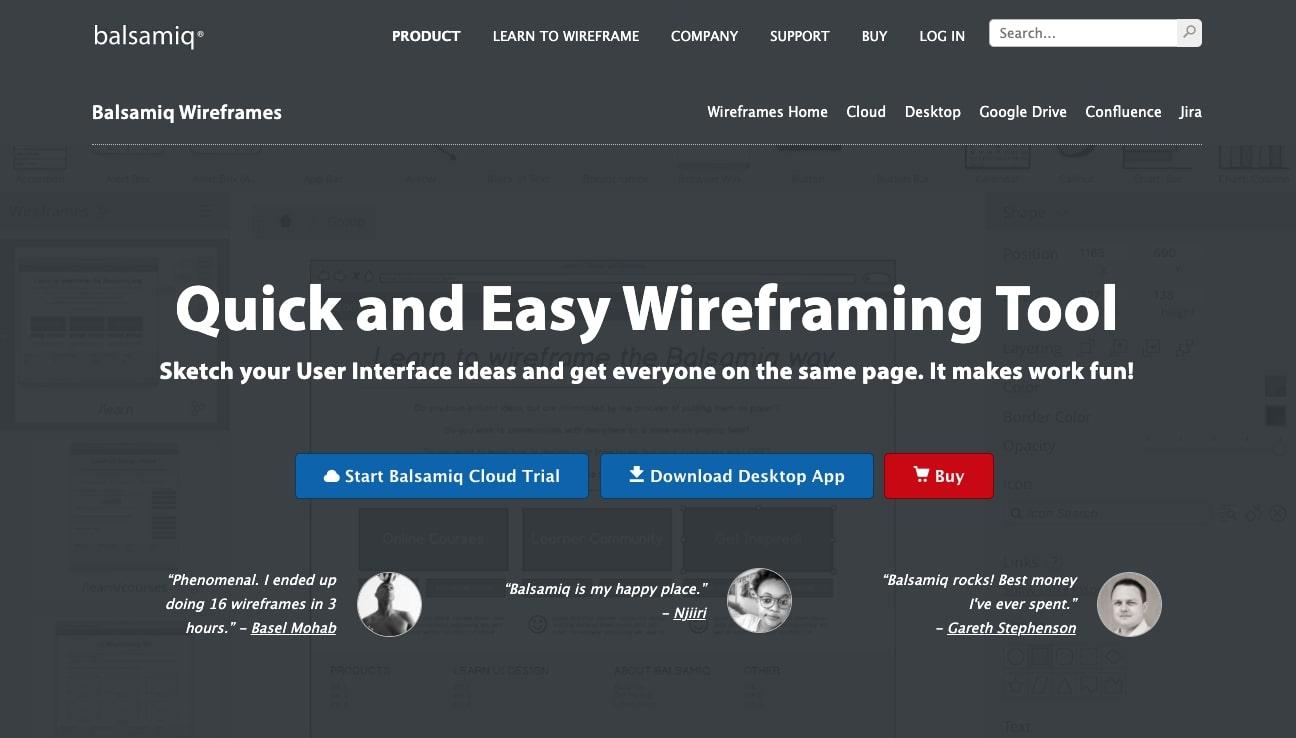 Balsamiq wireframes design tool