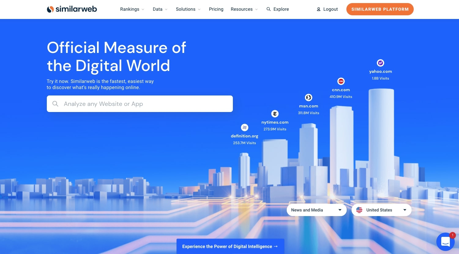 An image of Similarweb's home page.