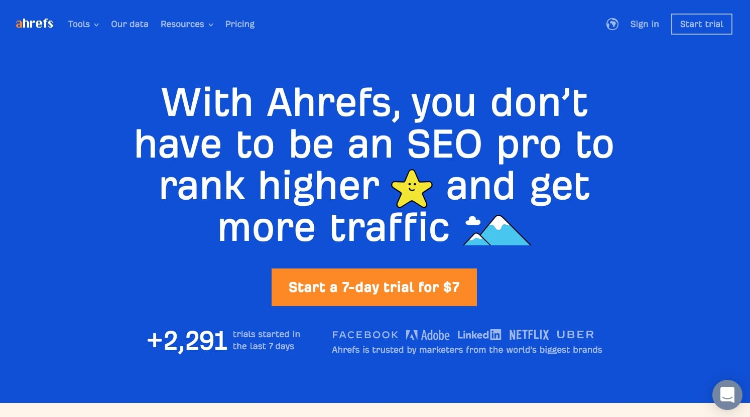 An image of the Ahrefs' website.