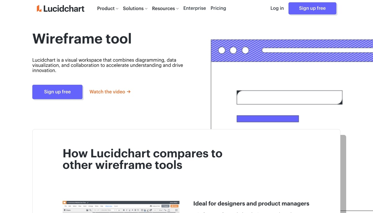 lucidchart wireframing tool