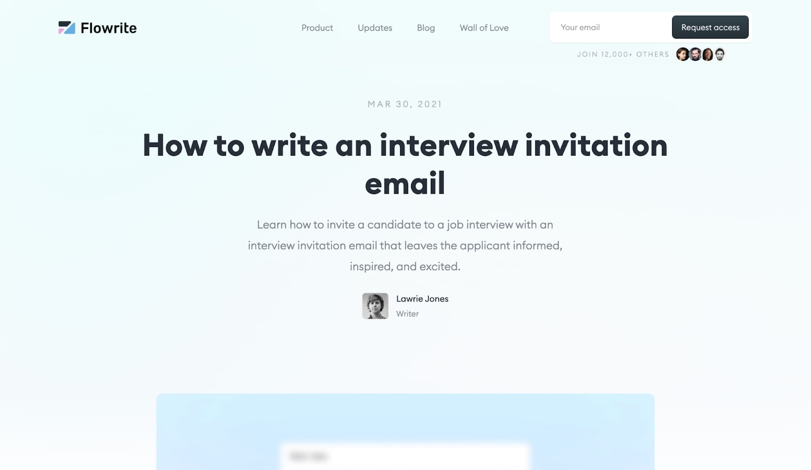 """An image of a Flowrite blog post. The blog post is titled """"How to write an interview invitation email"""""""