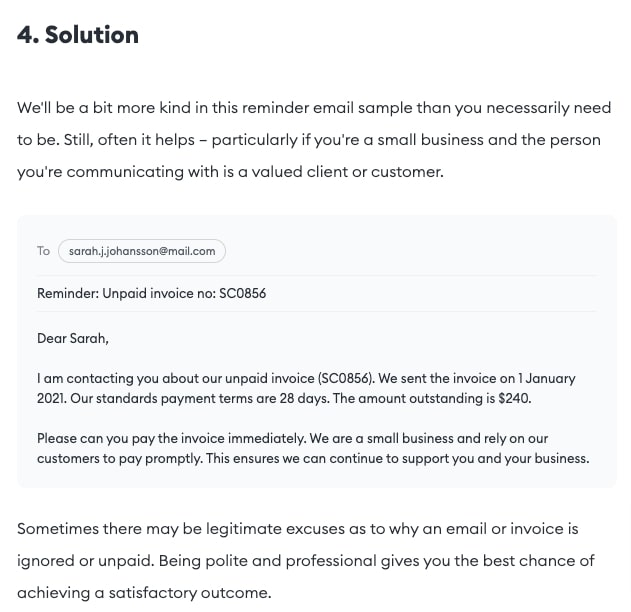 An image of Flowrite's email sample in their blog post.