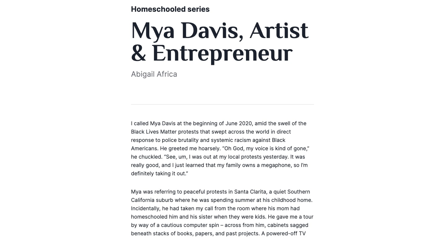 A view of a blog post on the Primer website. This one features Mya Davis, an artist and entrepreneur.
