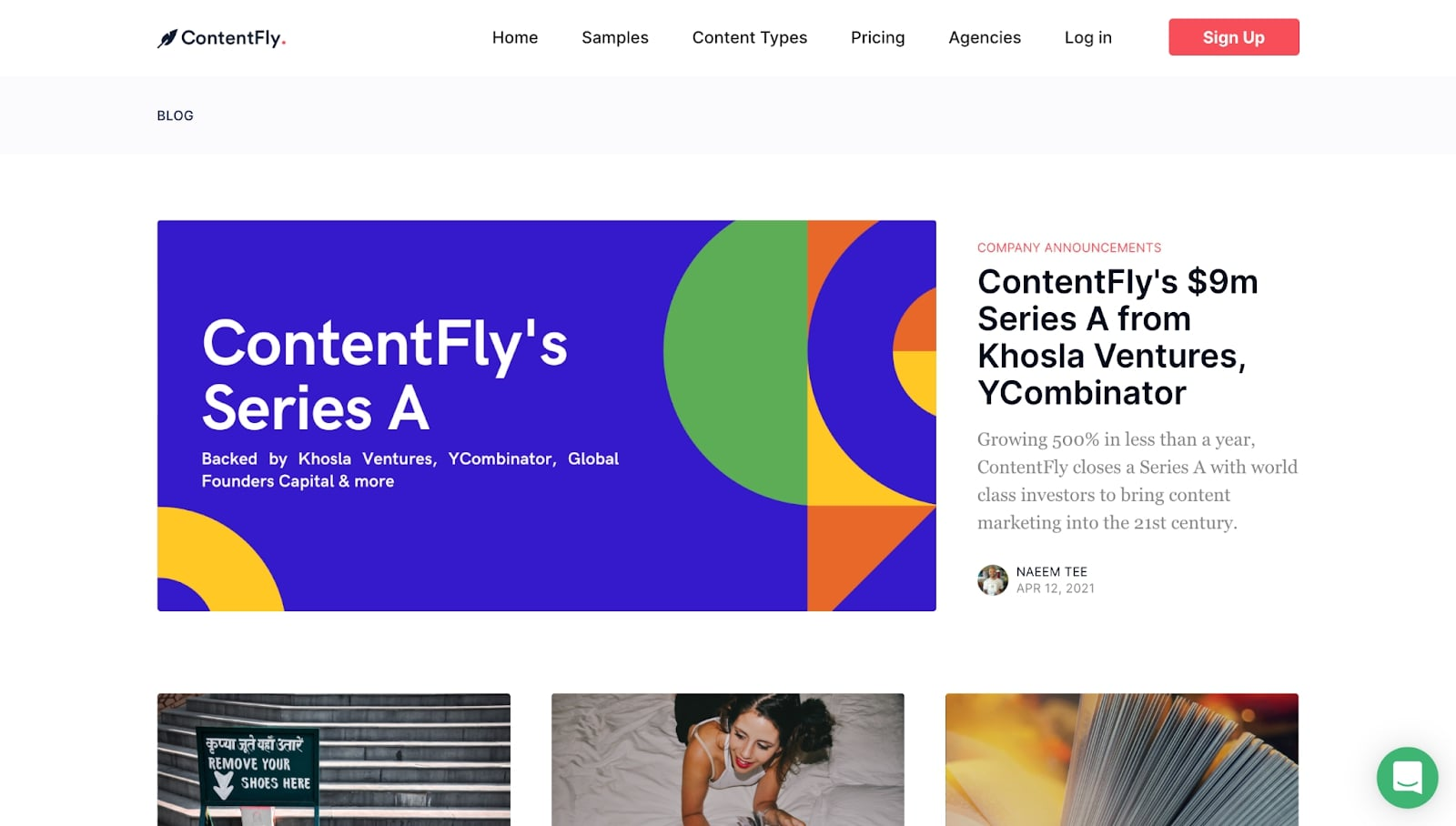 An image of the ContentFly blog.