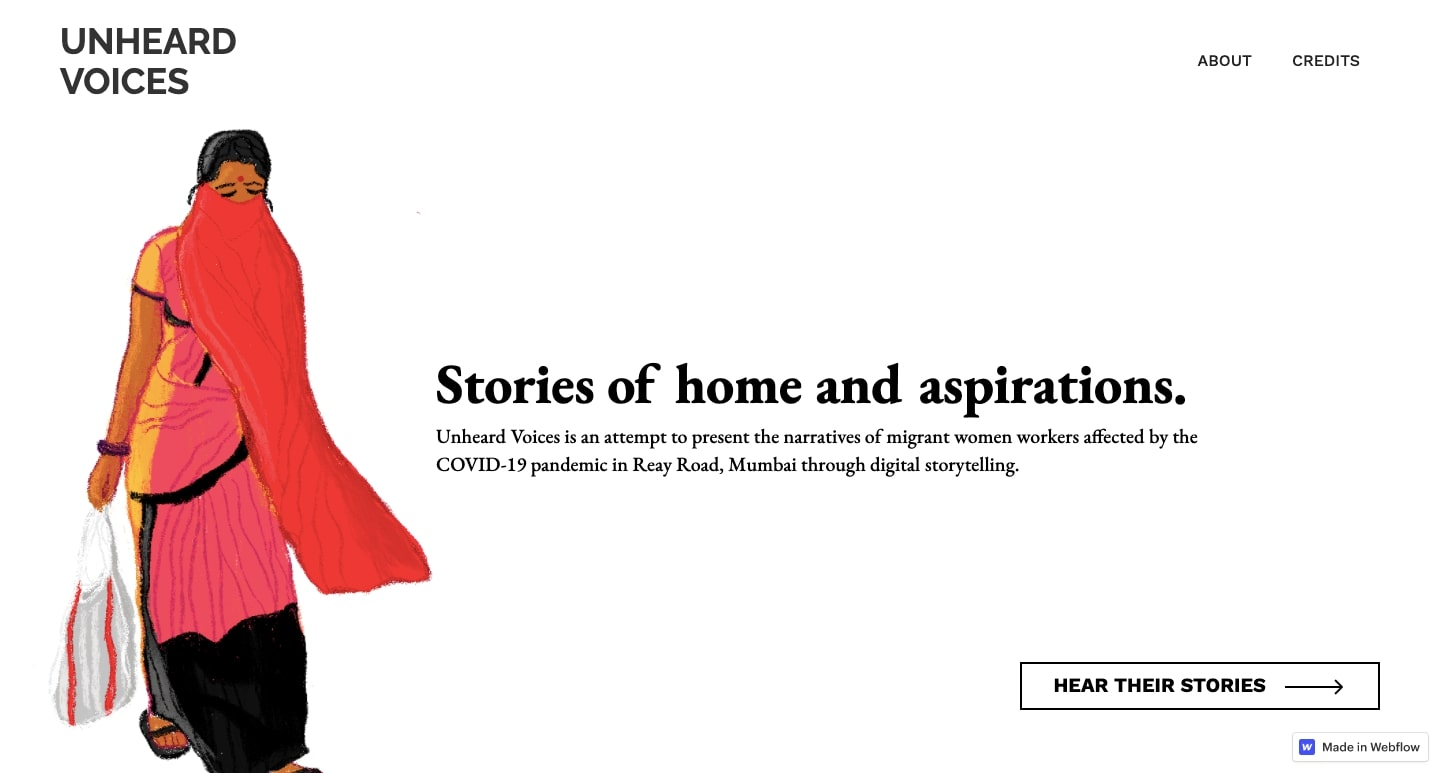 The Unheard Voices home page.