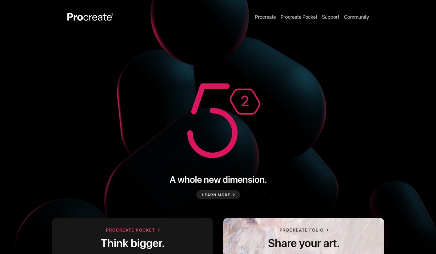 An image of the Procreate website home page.
