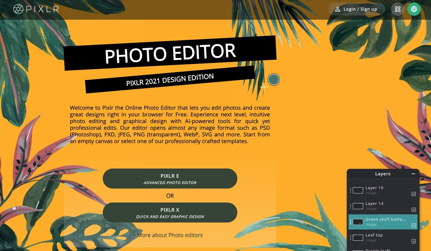 An image of the Pixlr photo editor website.