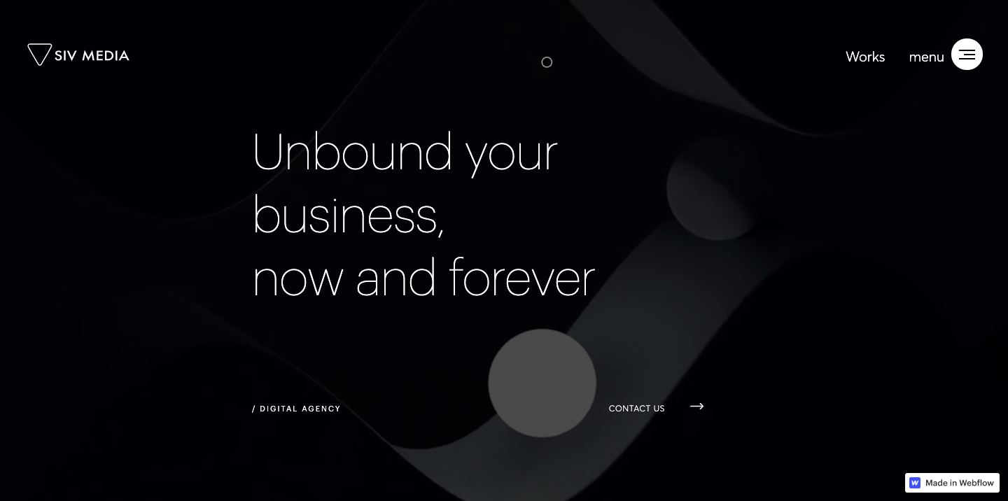 """The Agency's homepage that says """"unbound your business, now and forever."""""""