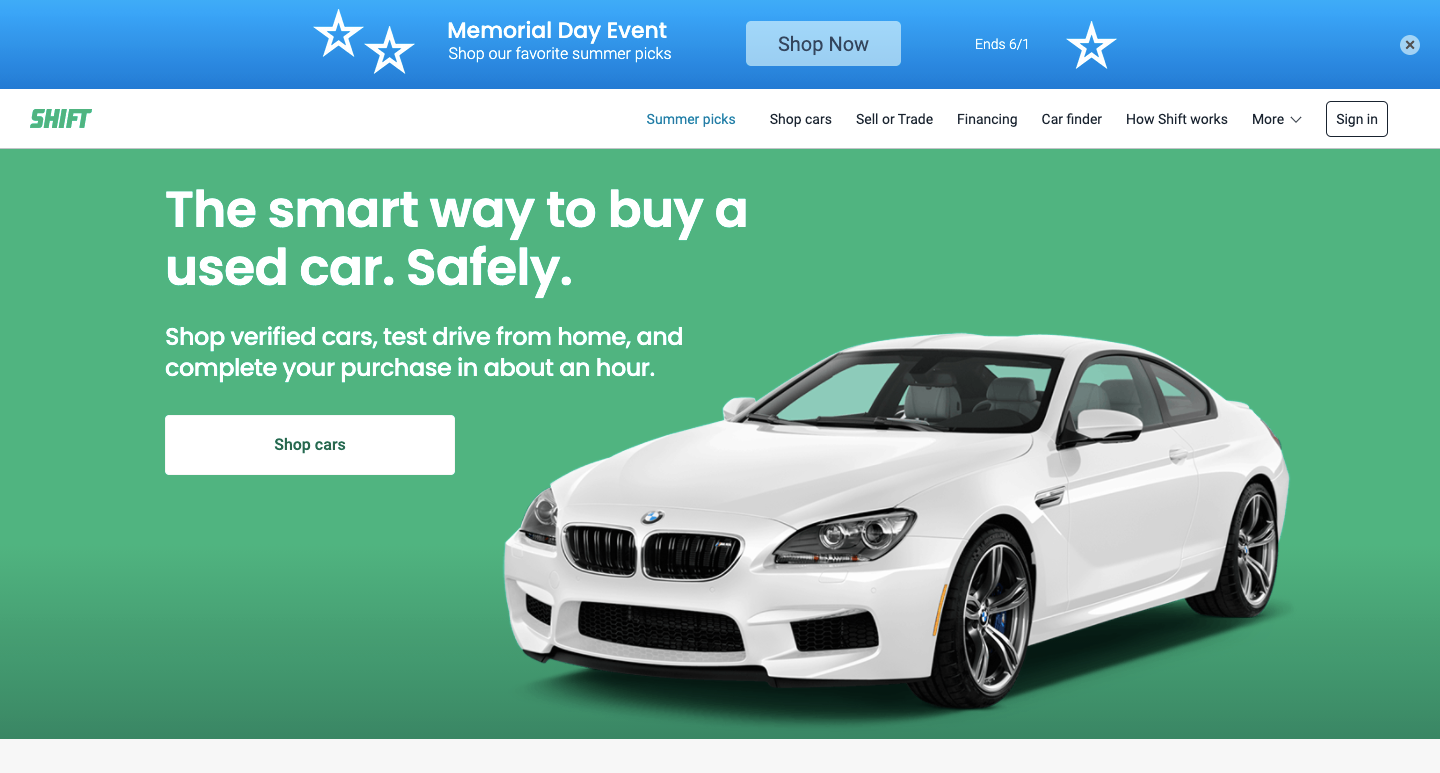 Shift's homepage featuring a white BMW.