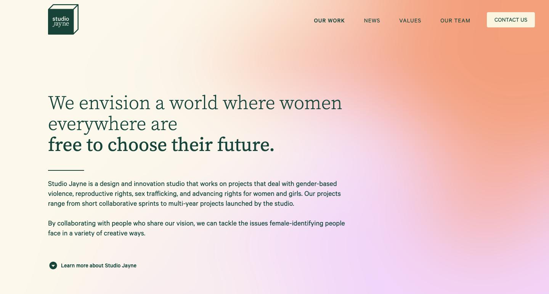 home page for studio jayne.