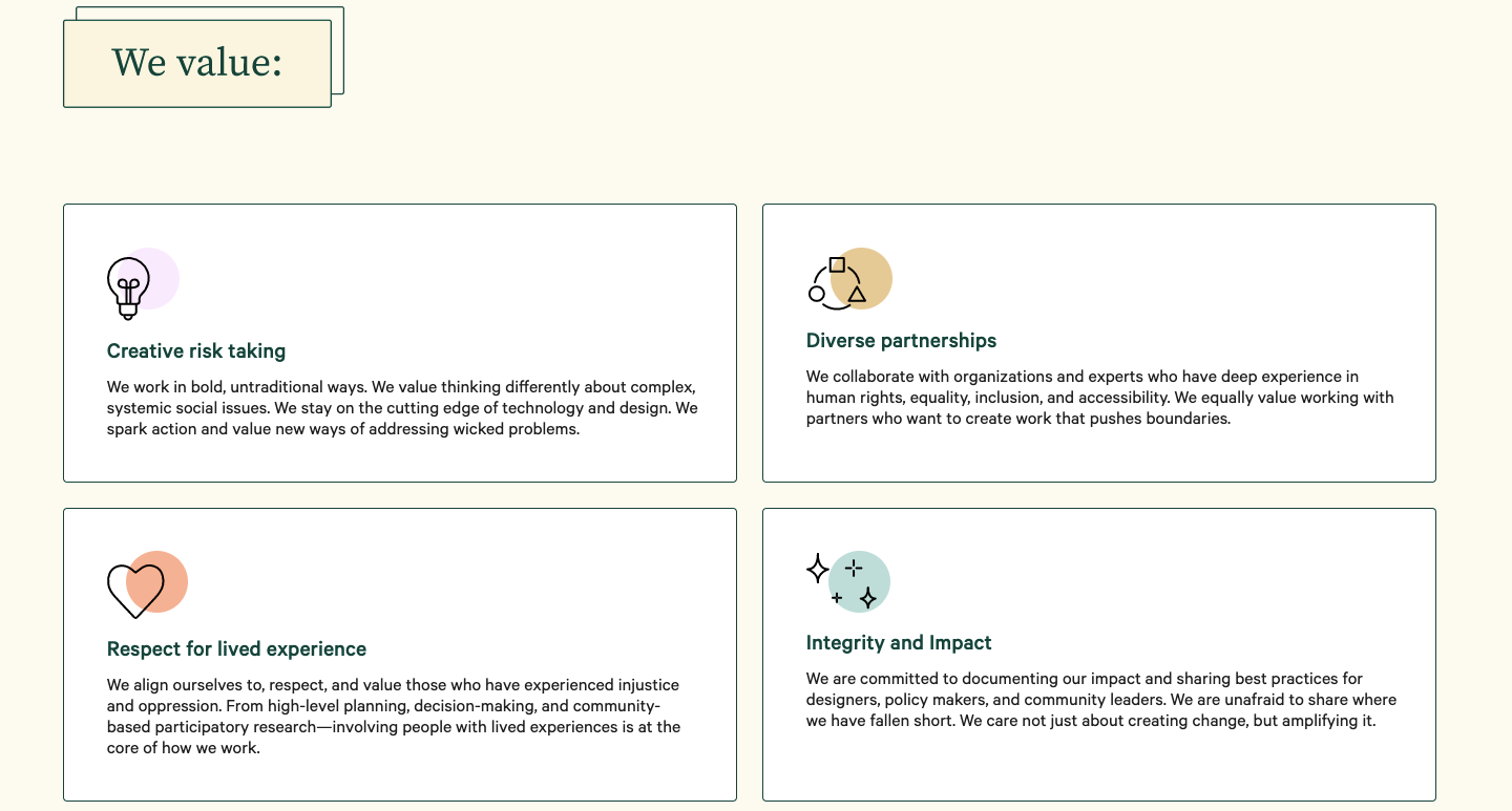 Screenshot detailing the values section of Studio Jayne, like Creative risk taking, diverse partnerships, respect for lived experience, and integrity and impact.