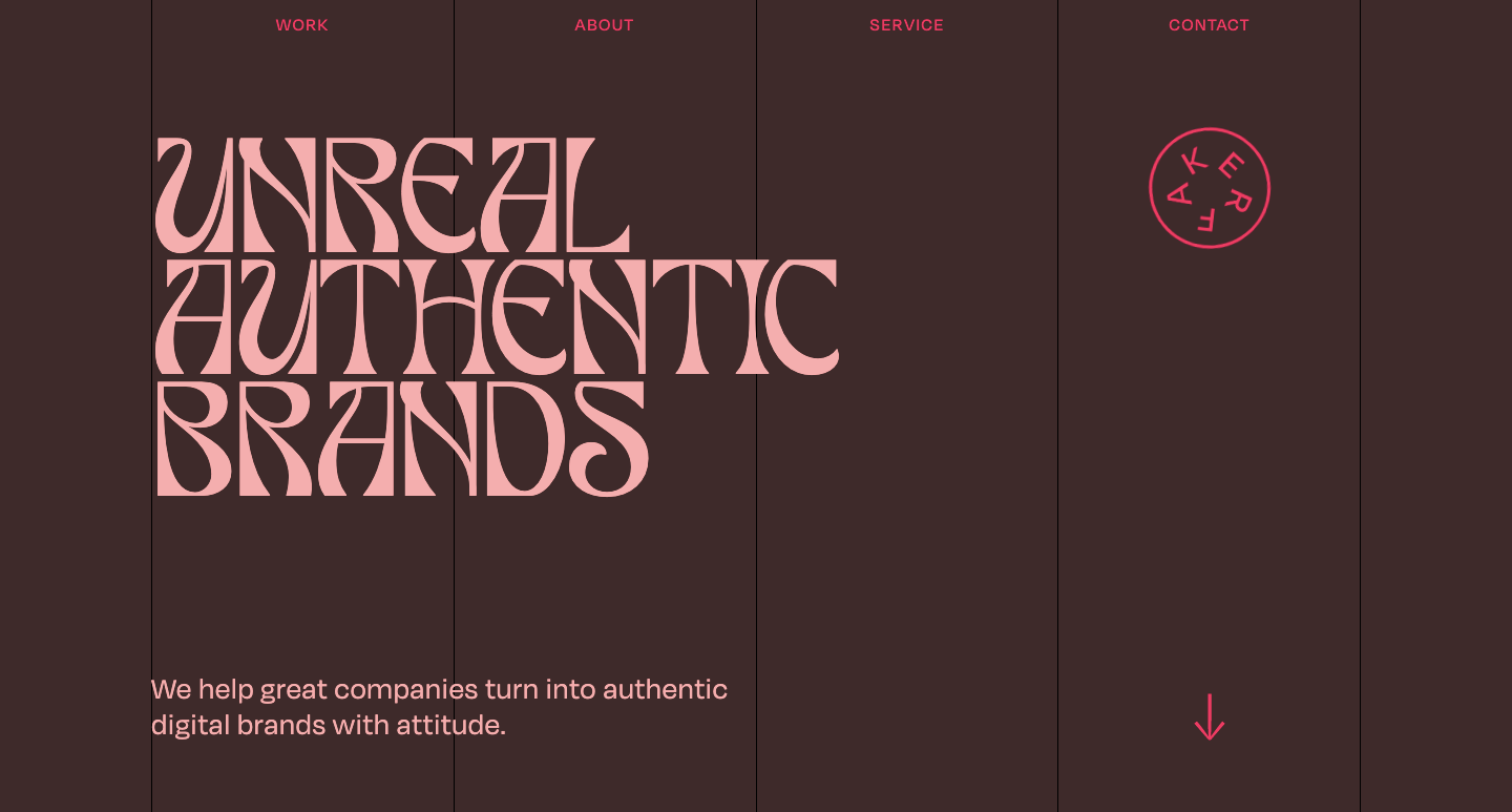 """Faker Agency's home page that says """"Unreal authentic brands"""""""