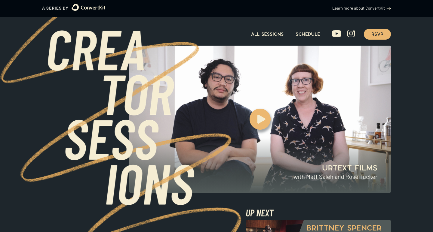 Home page for Creator Sessions.