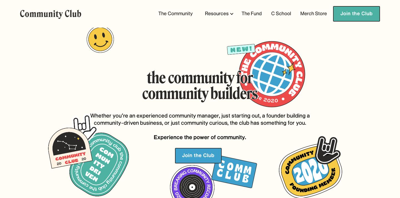homepage for community club.