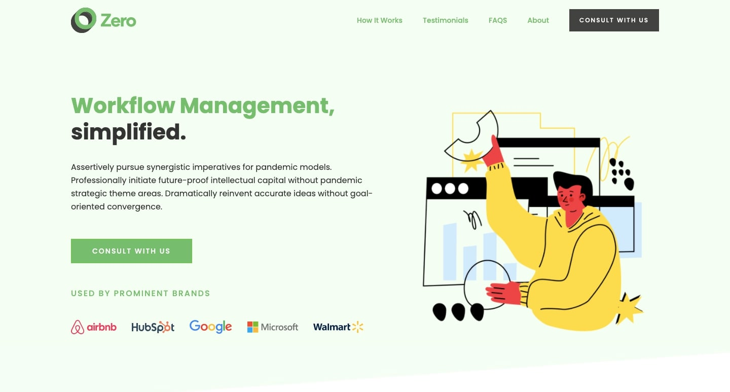 The homepage of the SaaS product landing page template.