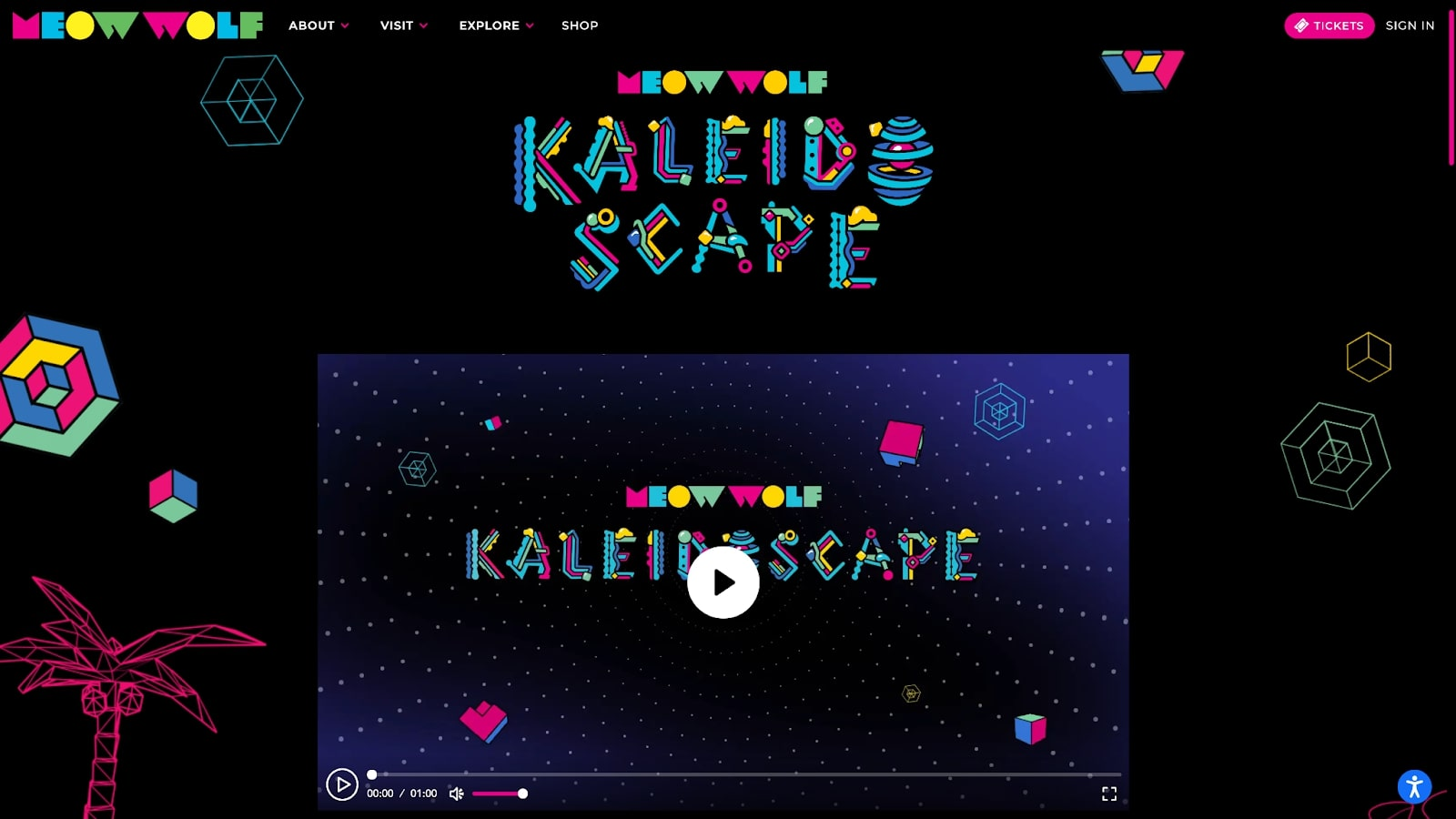 An image of the Meow Wolf Kaleidoscape video player.