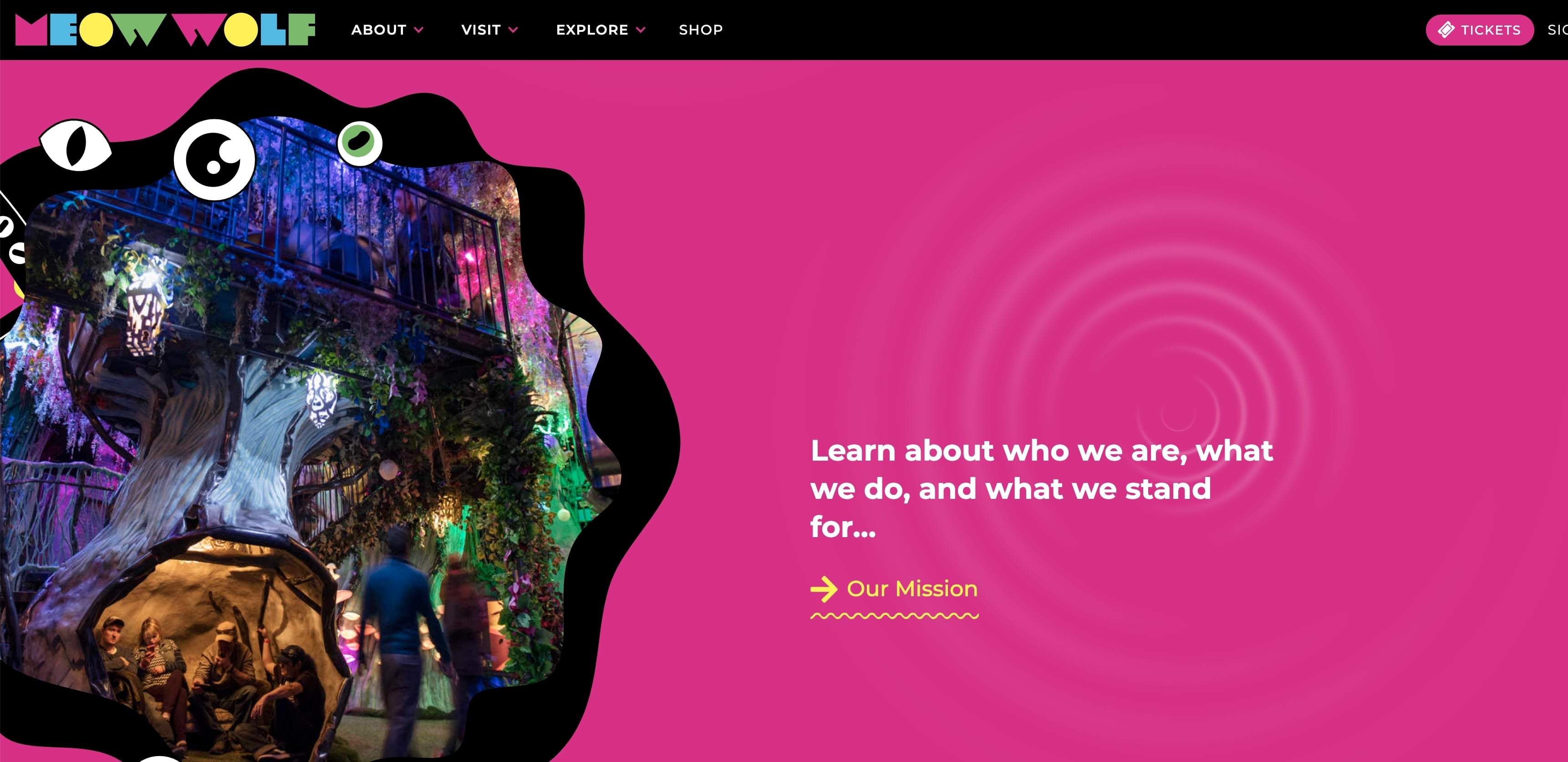Another view of the Meow Wolf website.