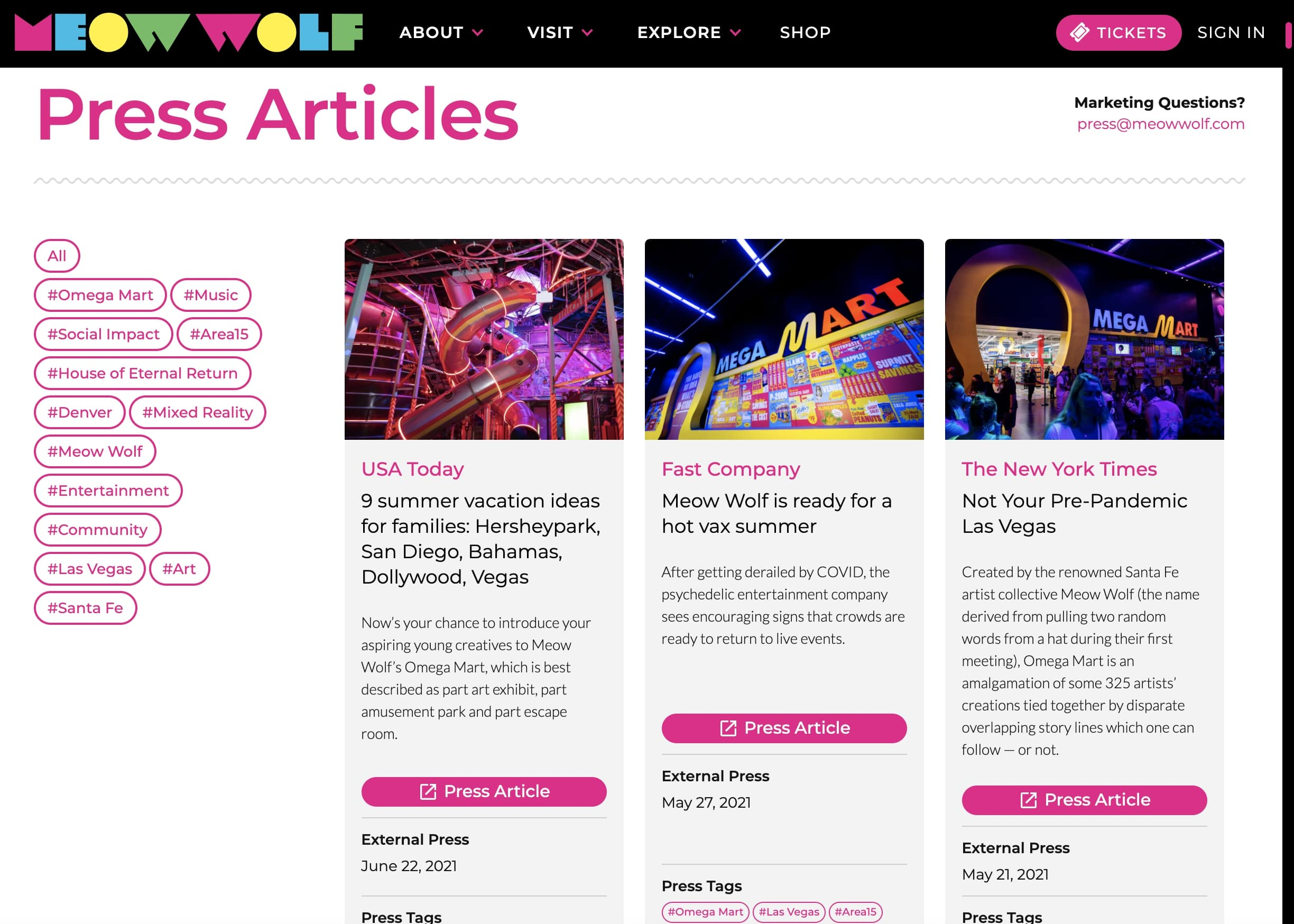 An image of the Meow Wolf press articles page.