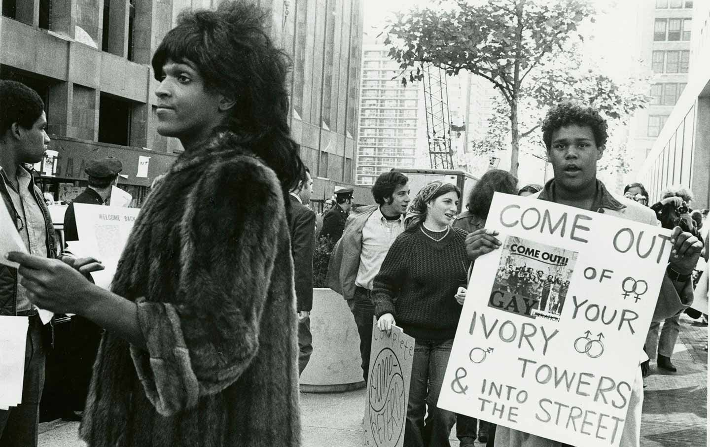 Activist Marsha P. Johnson handing out flyers in New York City in 1970.