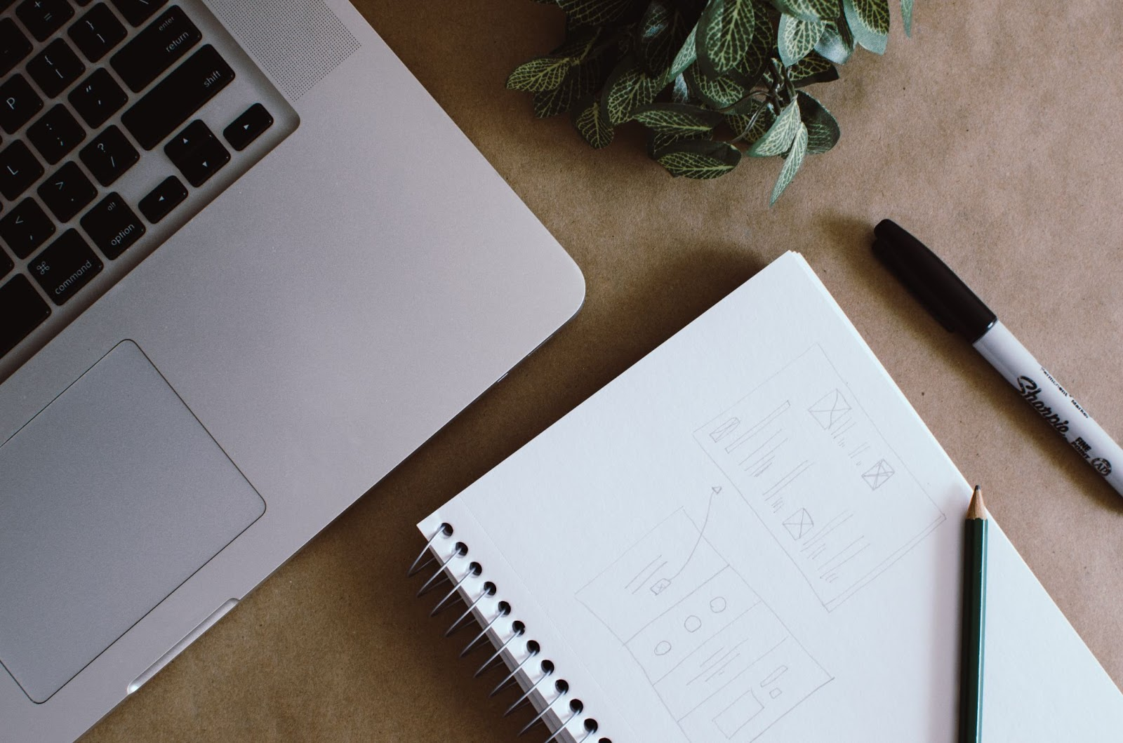 An image of a desktop. On the desktop there is a laptop, a plant, a notebook, a pencil, and a Sharpie.